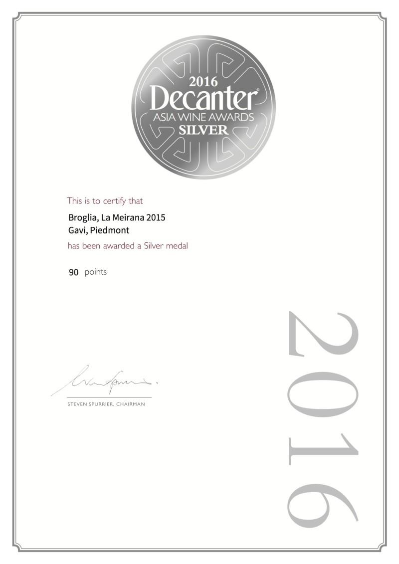 DECANTER ASIA SILVER MEDAL - LA MEIRANA 2015
